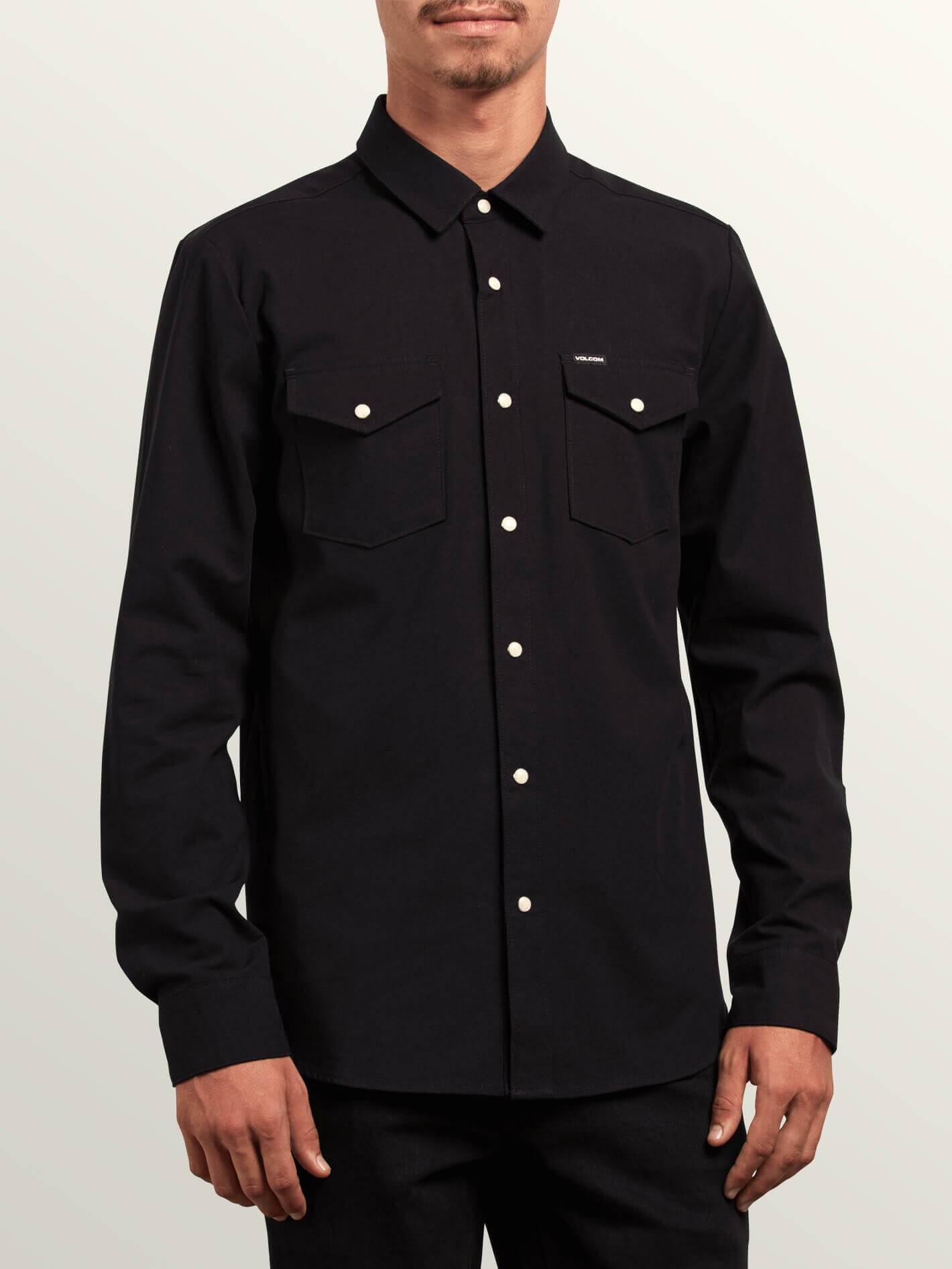 ONeill Mens Rockaway Button Up Long-Sleeve Shirt Large Black