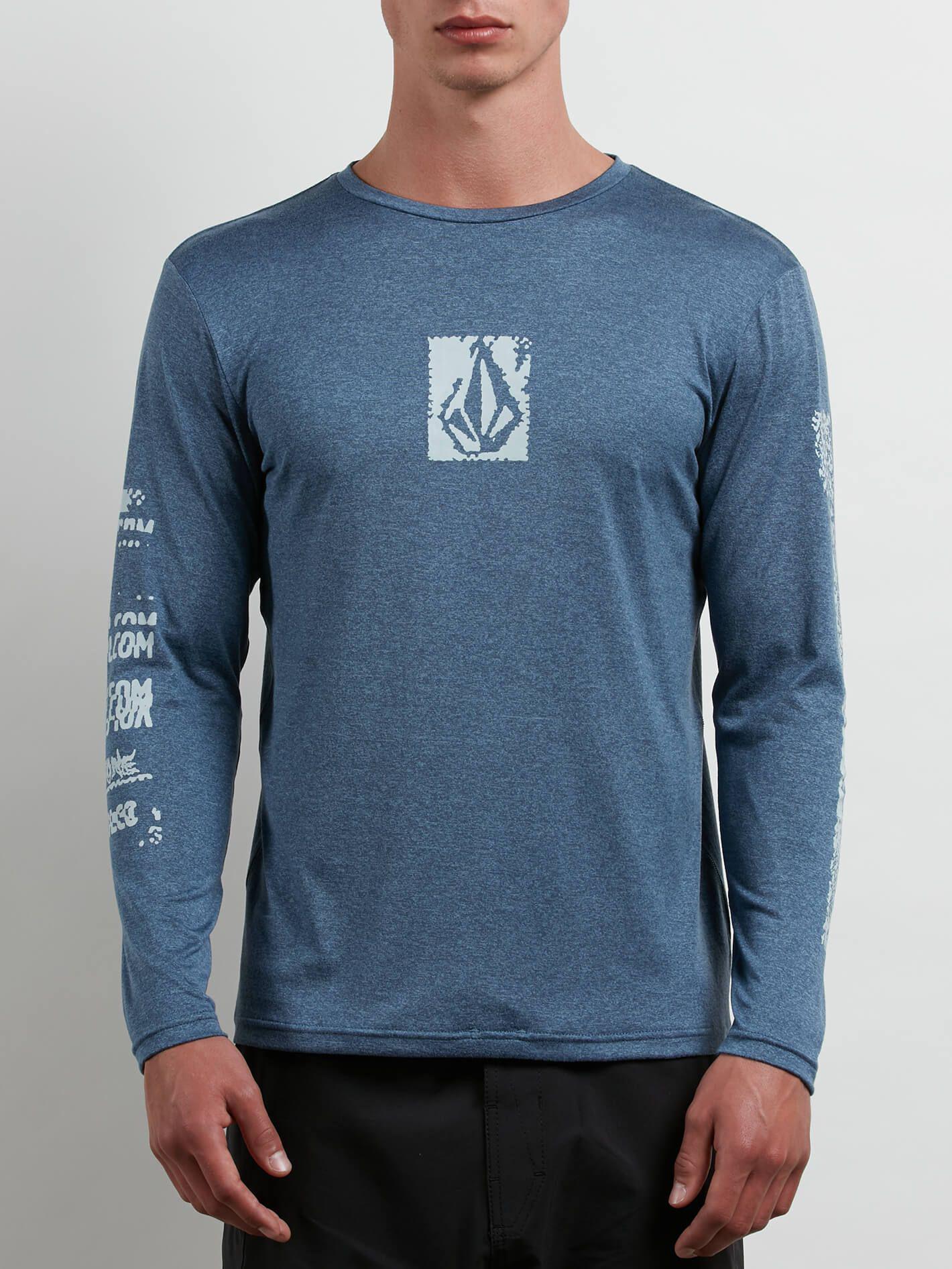 Volcom. Men's Blue Lido Pixel Heather Long Sleeve Rashguard
