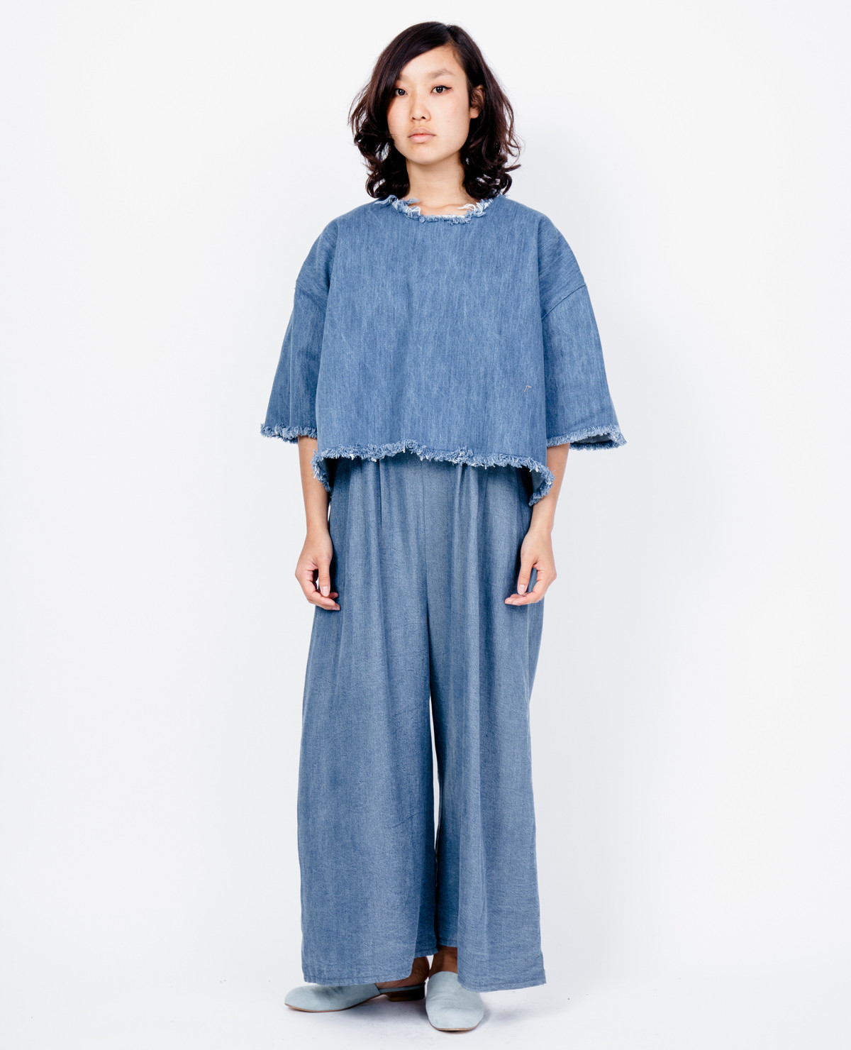 Sarah Bentley Clothing: Ashley Rowe Tee Shirt / Medium Denim In Blue (Medium Denim