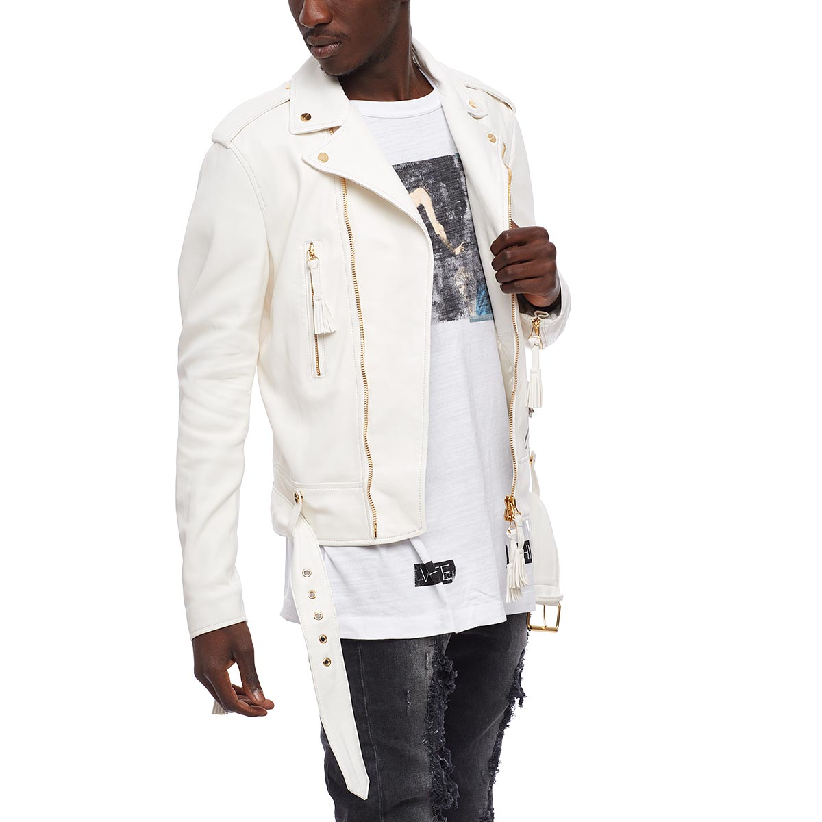 Off White C O Virgil Abloh Striped Detail Biker Jacket In