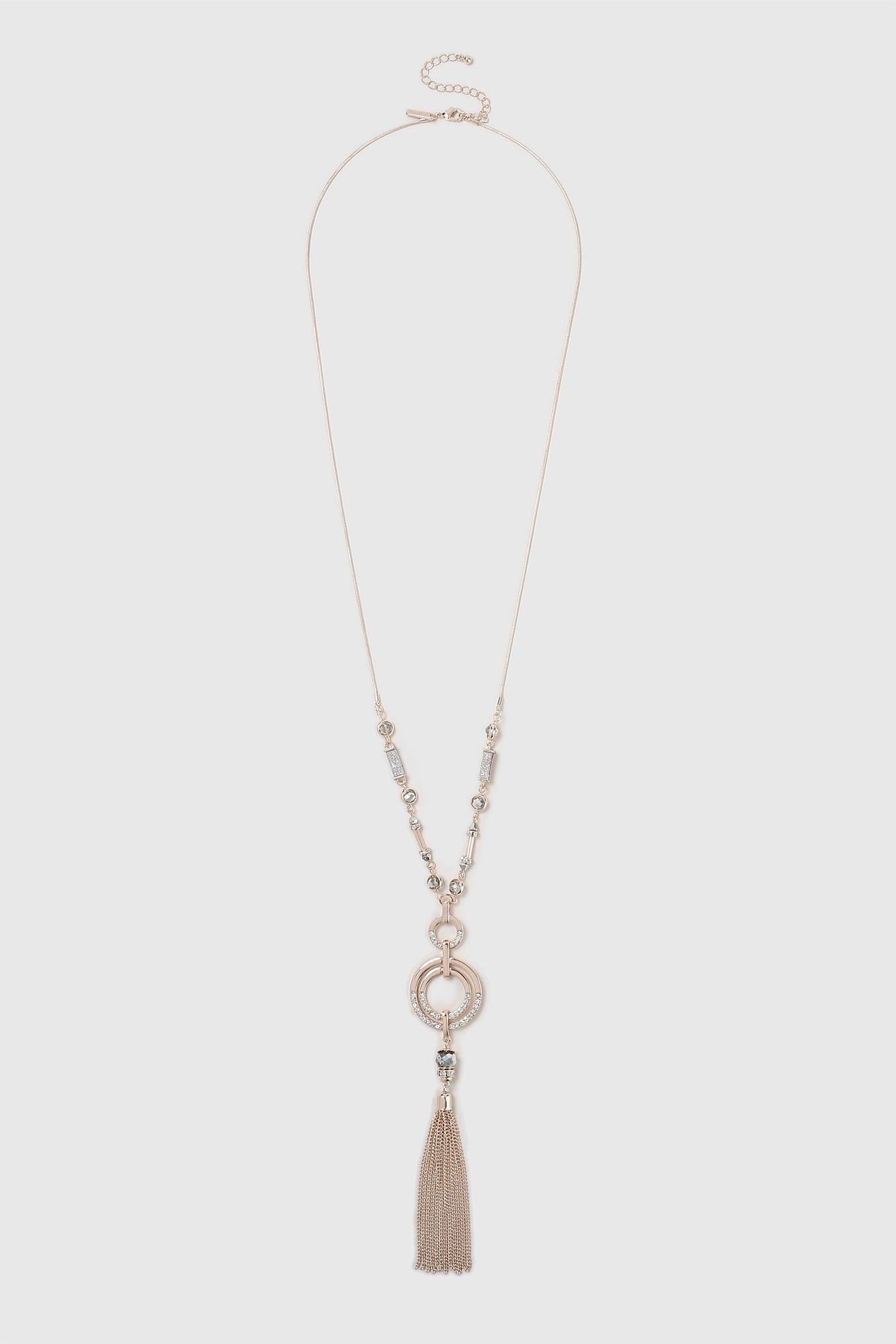 Wallis Synthetic Rose Gold Tassel Necklace in Silver (Metallic)