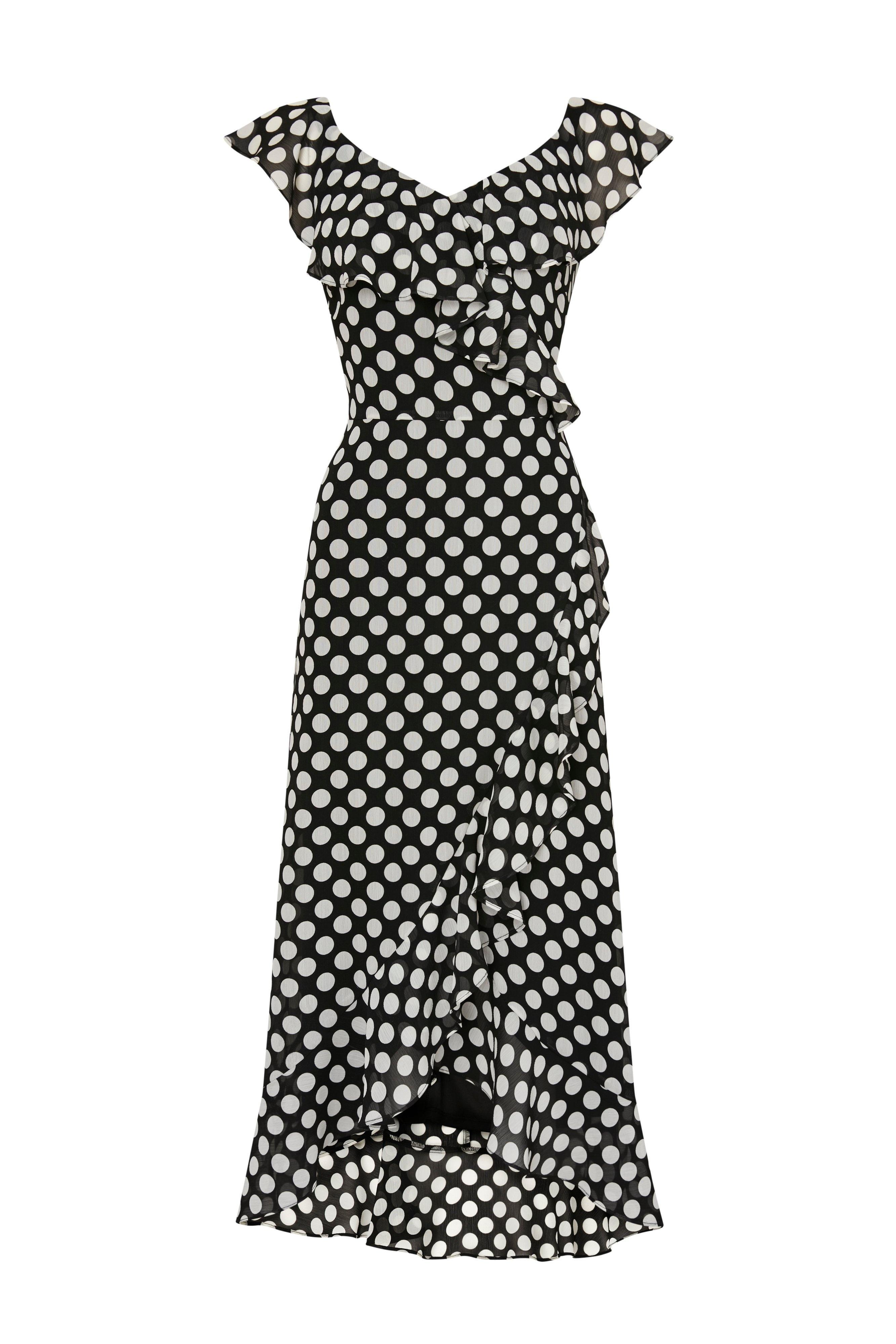 Wallis Synthetic Black Spot Ruffle Dress Lyst