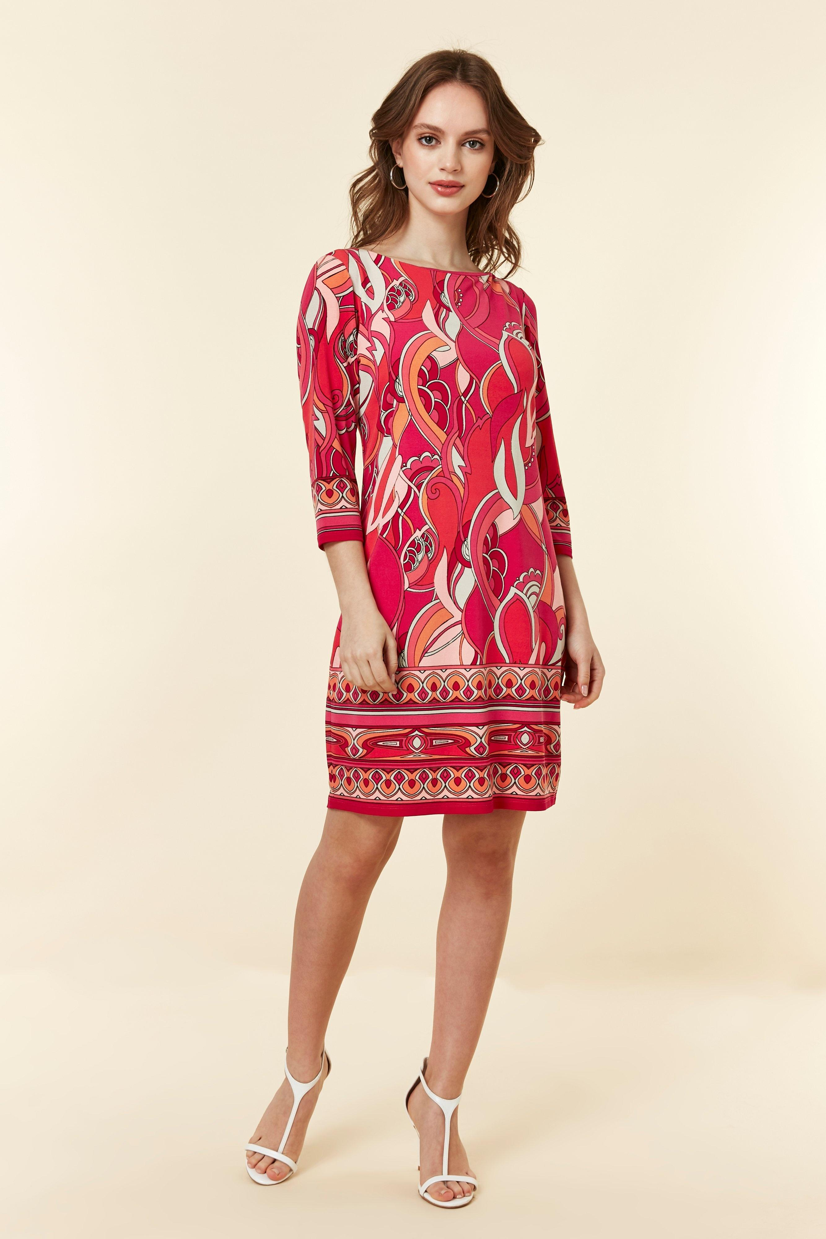 2a1529a8b90 Wallis - Petite Pink Swirl Border Tunic Dress - Lyst. View fullscreen