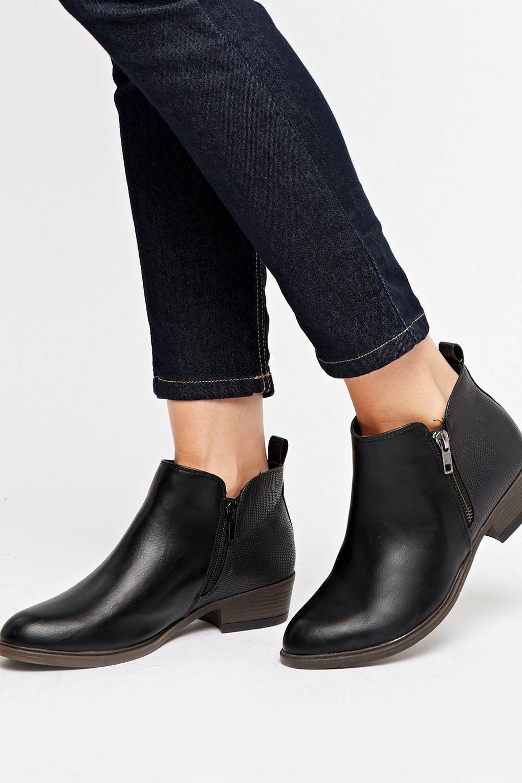 Wallis Denim Black Side Zip Ankle Boot