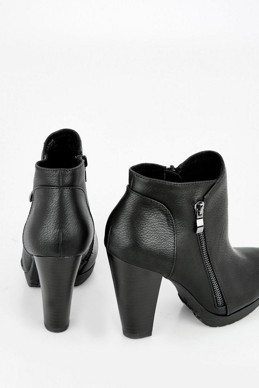 Wallis Black Chunky Platform Side Zip Boot