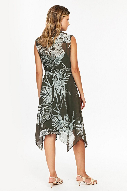 Wallis Synthetic Khaki Palm Print Button Dress