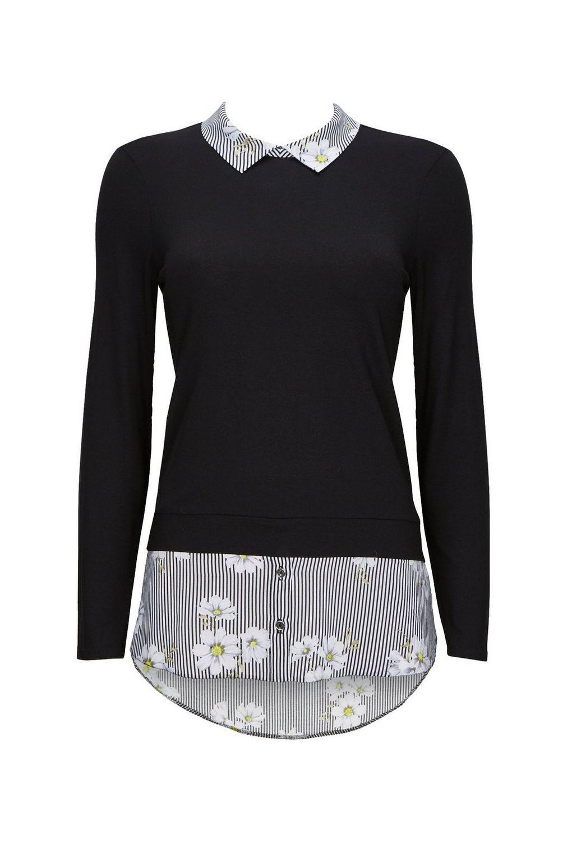 11aaebdb9e3fe0 Wallis Petite Monochrome Daisy Striped Layered Top in Black - Lyst