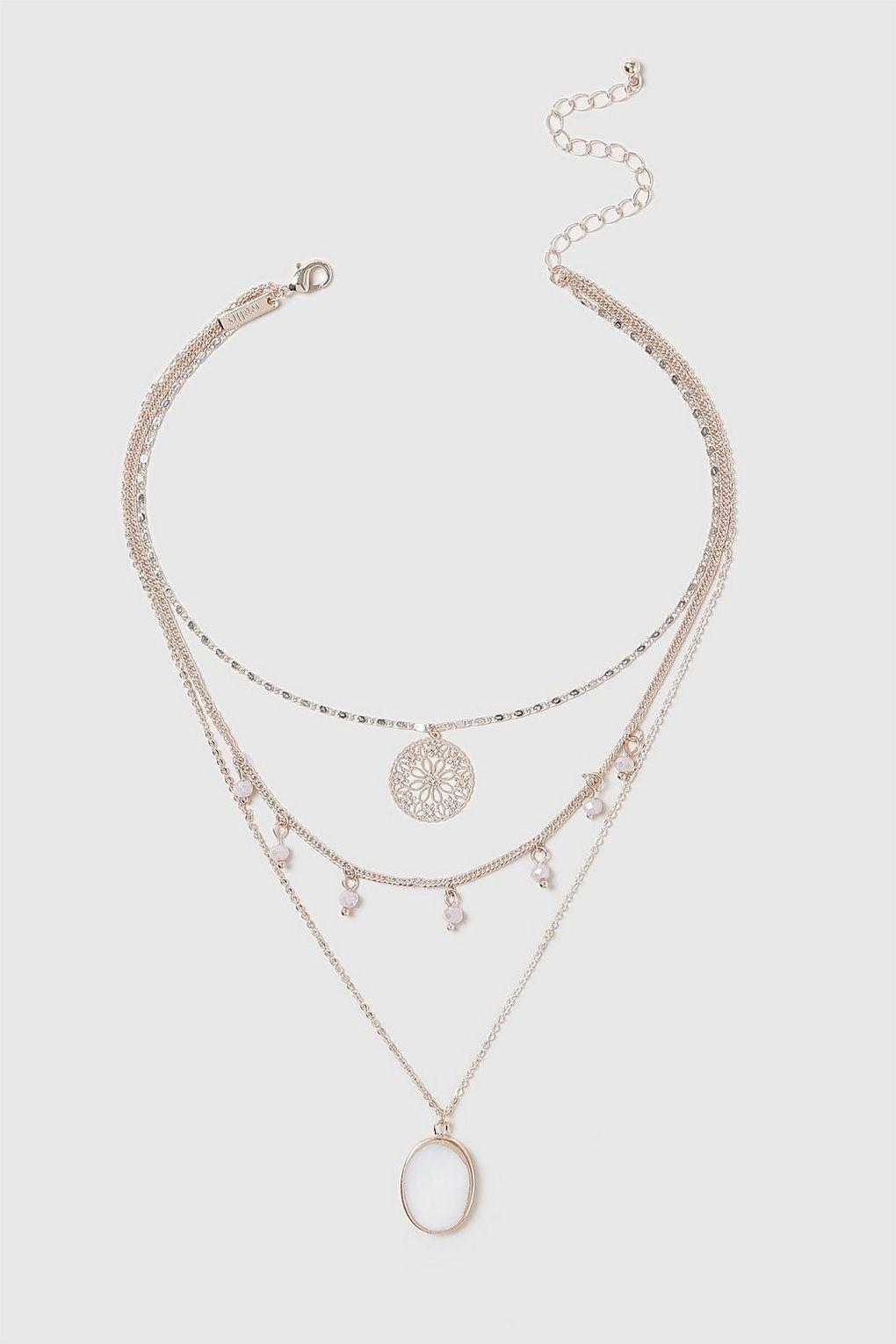 Wallis Synthetic Rose Gold Shell Multirow Necklace in Pale Pink (Metallic)