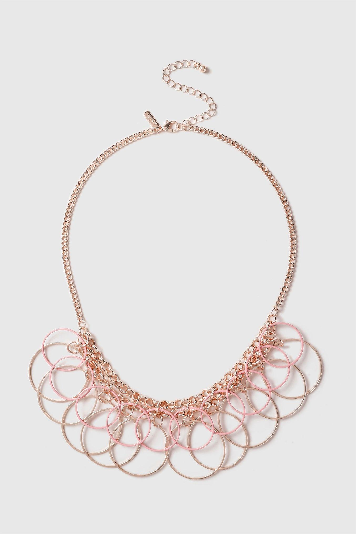 Wallis Pink Circle Cluster Necklace