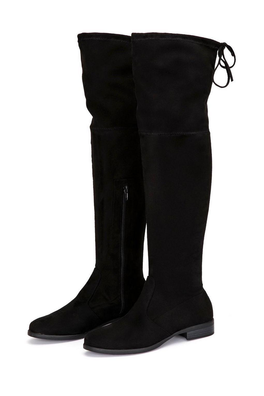 Wallis Black Flat Lace Knee Boot