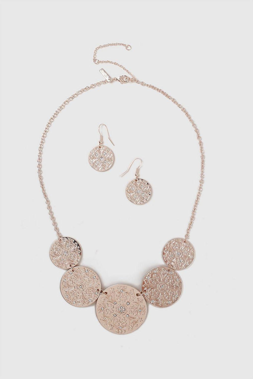 Wallis Rose Gold Coin Jewellery Set in Crystal (Metallic)