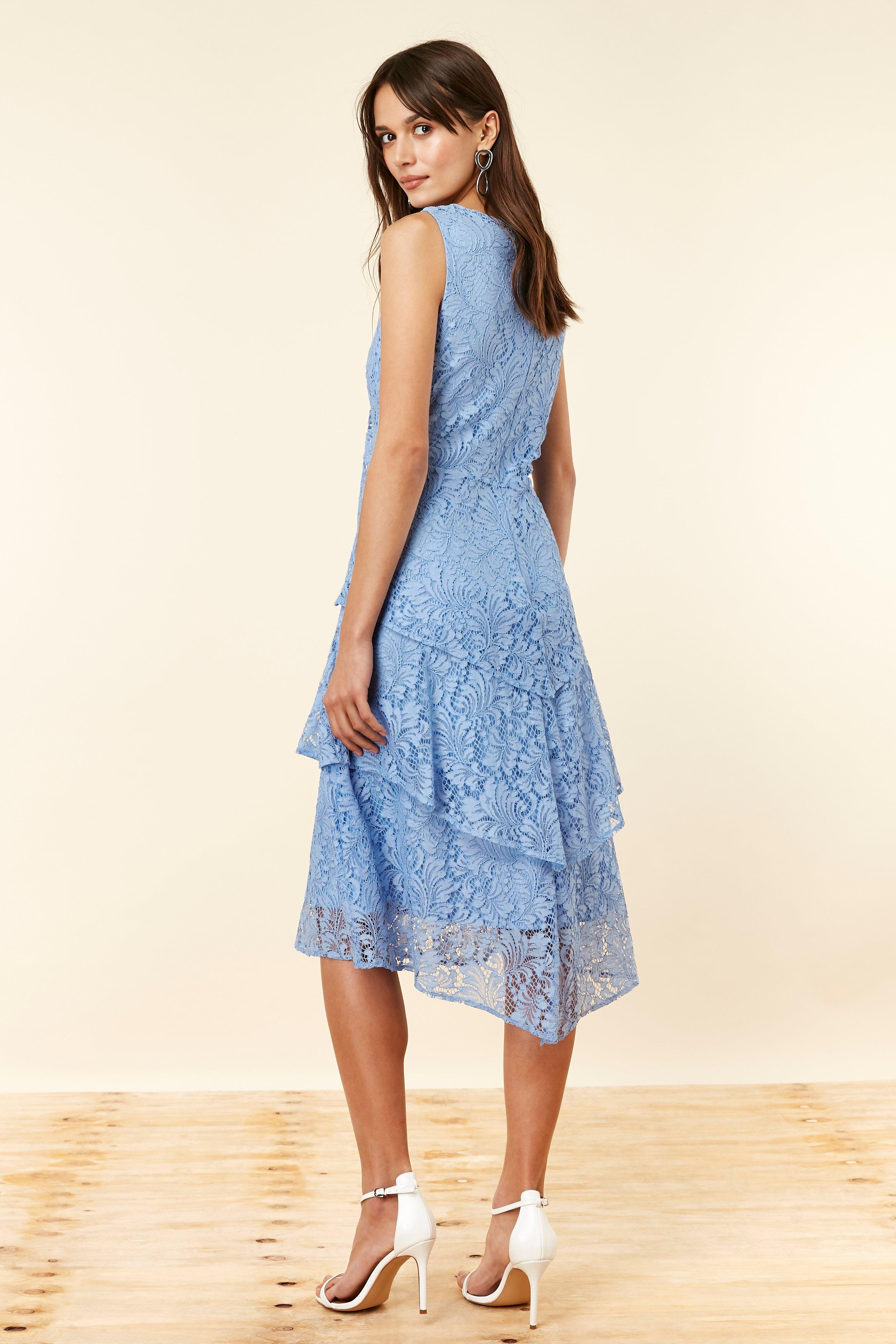 Blue Lace Tiered Dress