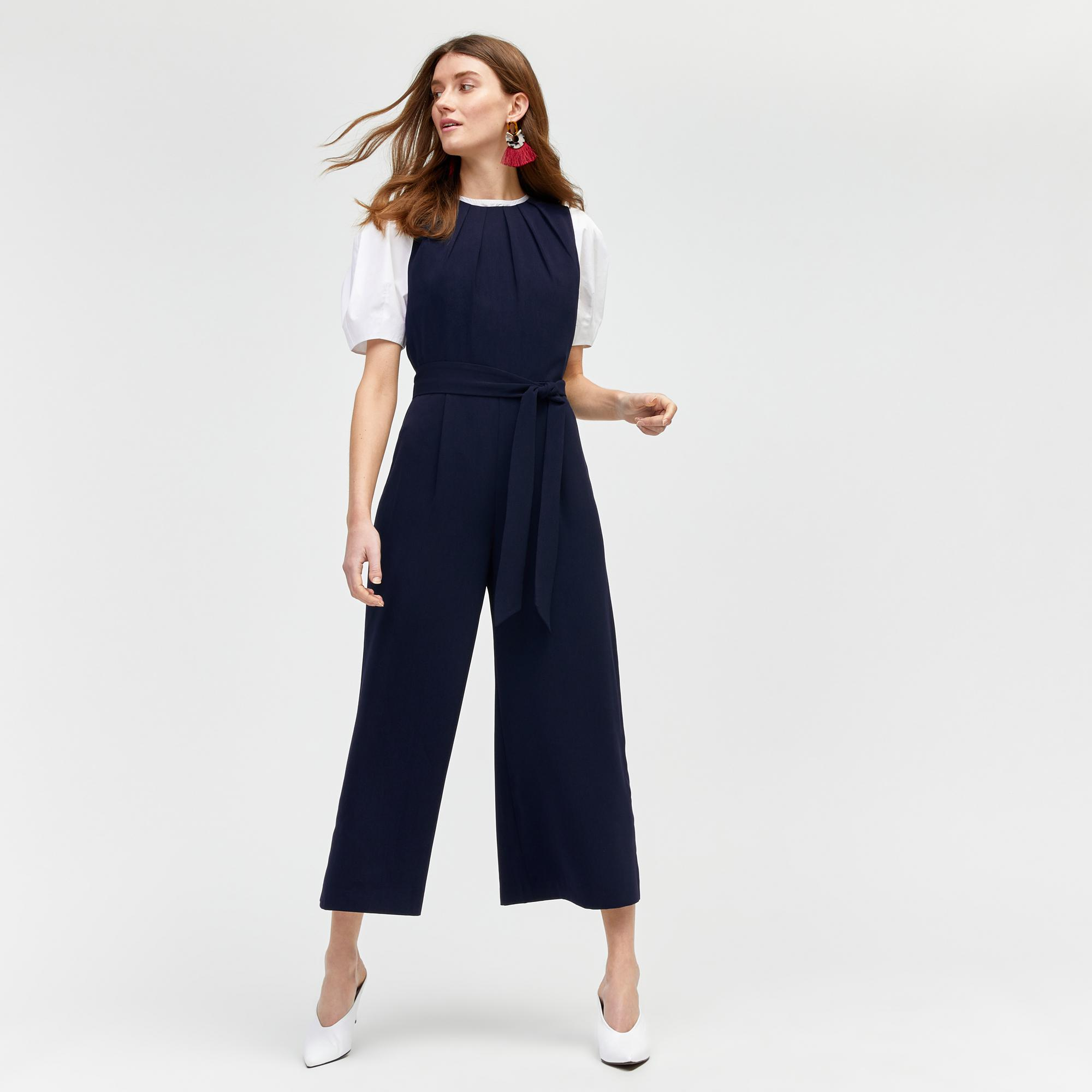 2606f80505d8 Warehouse Gathered Neck Jumpsuit in Blue - Lyst