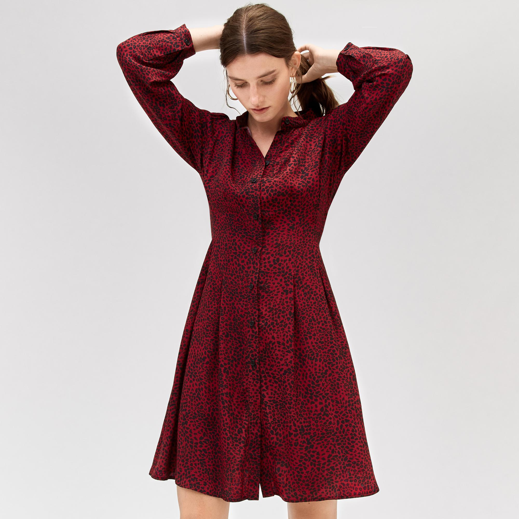 2393d4ec700 Warehouse Ditsy Leopard Dress in Red - Lyst