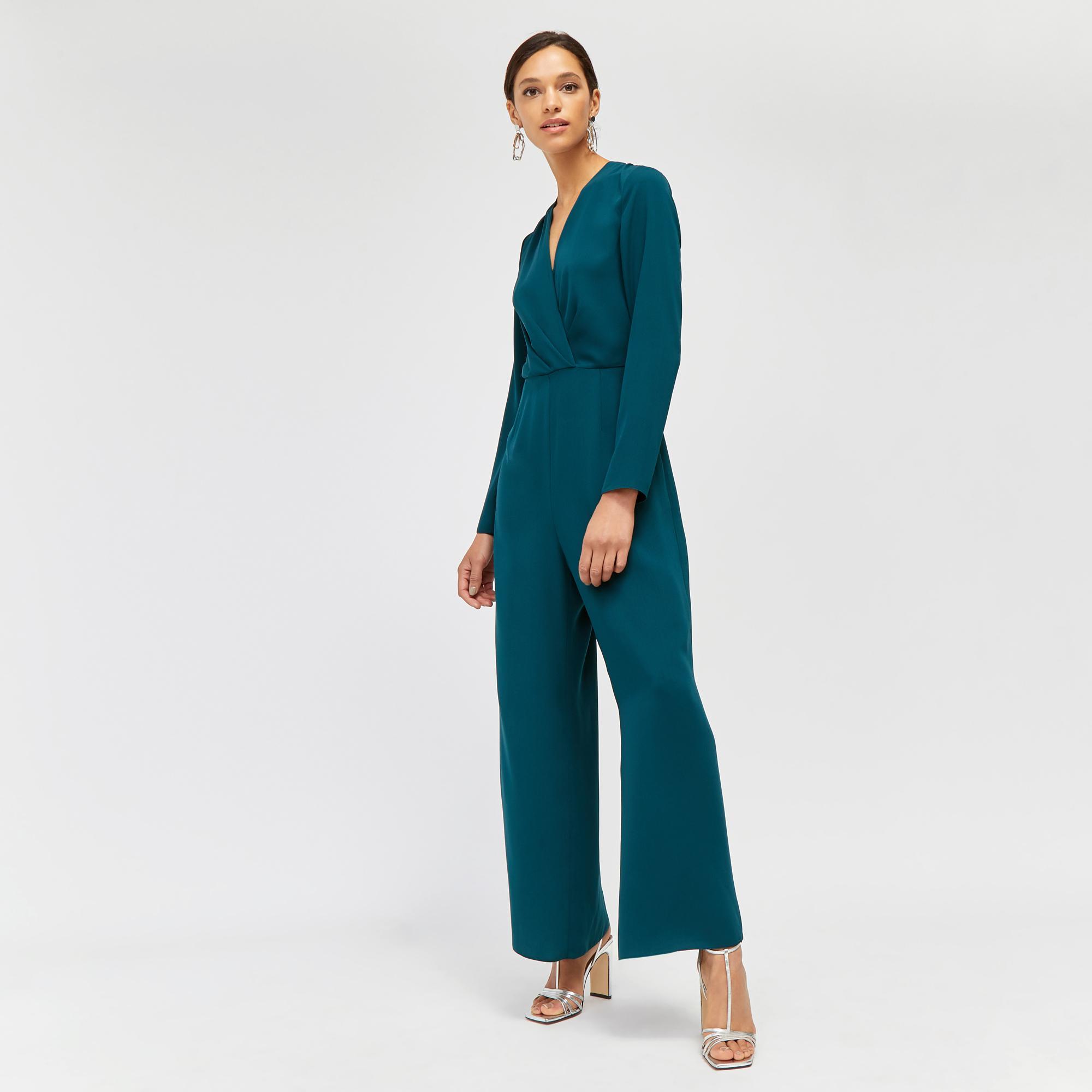 8a654ee390c3 Warehouse Pleat Wrap Wide Leg Jumpsuit in Green - Lyst