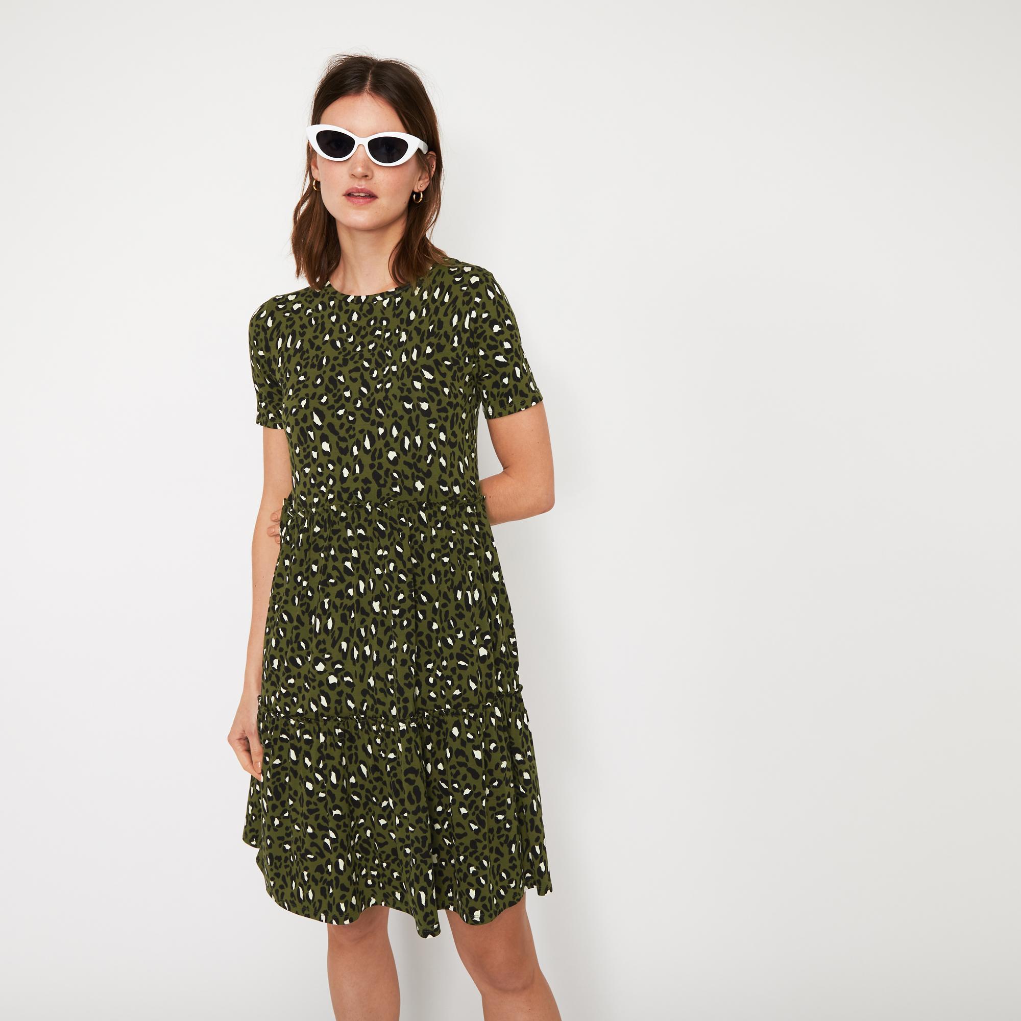 3991dac931a0 Warehouse Leopard Print T-shirt Dress in Green - Lyst