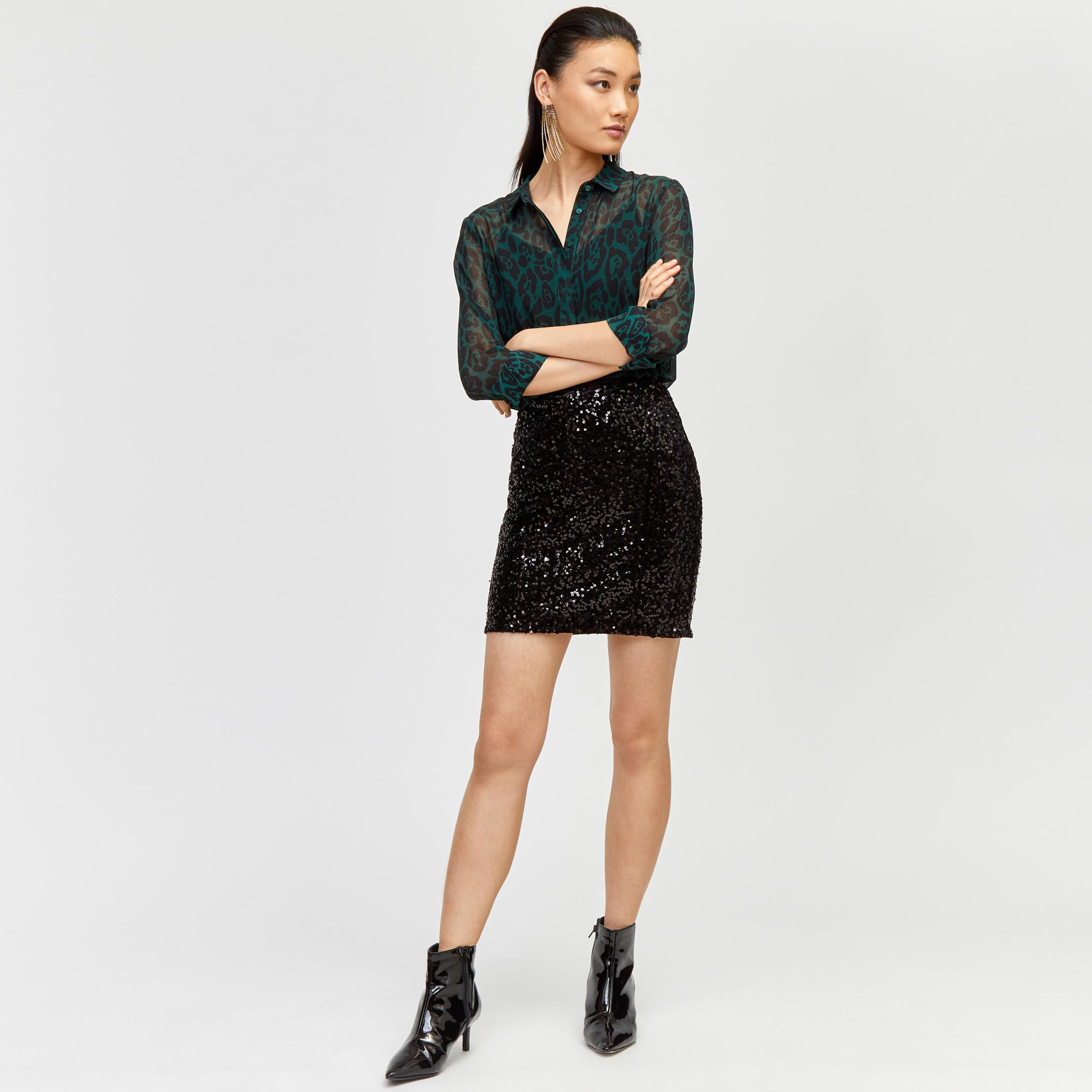 fe2199b3bc5f14 Warehouse Velvet Sequin Mini Skirt in Black - Lyst