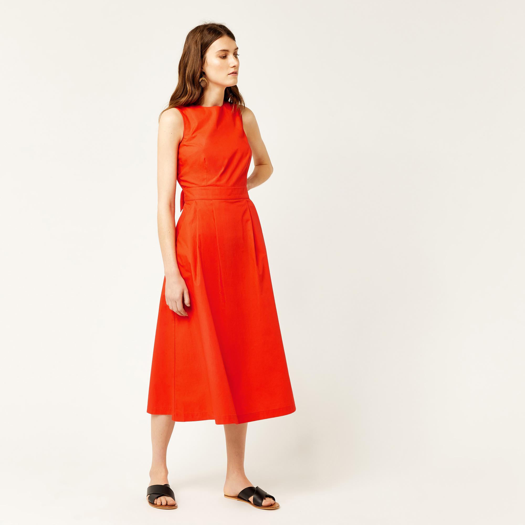 733c72adbed8 Warehouse Cotton Tie Back Midi Dress in Orange - Lyst