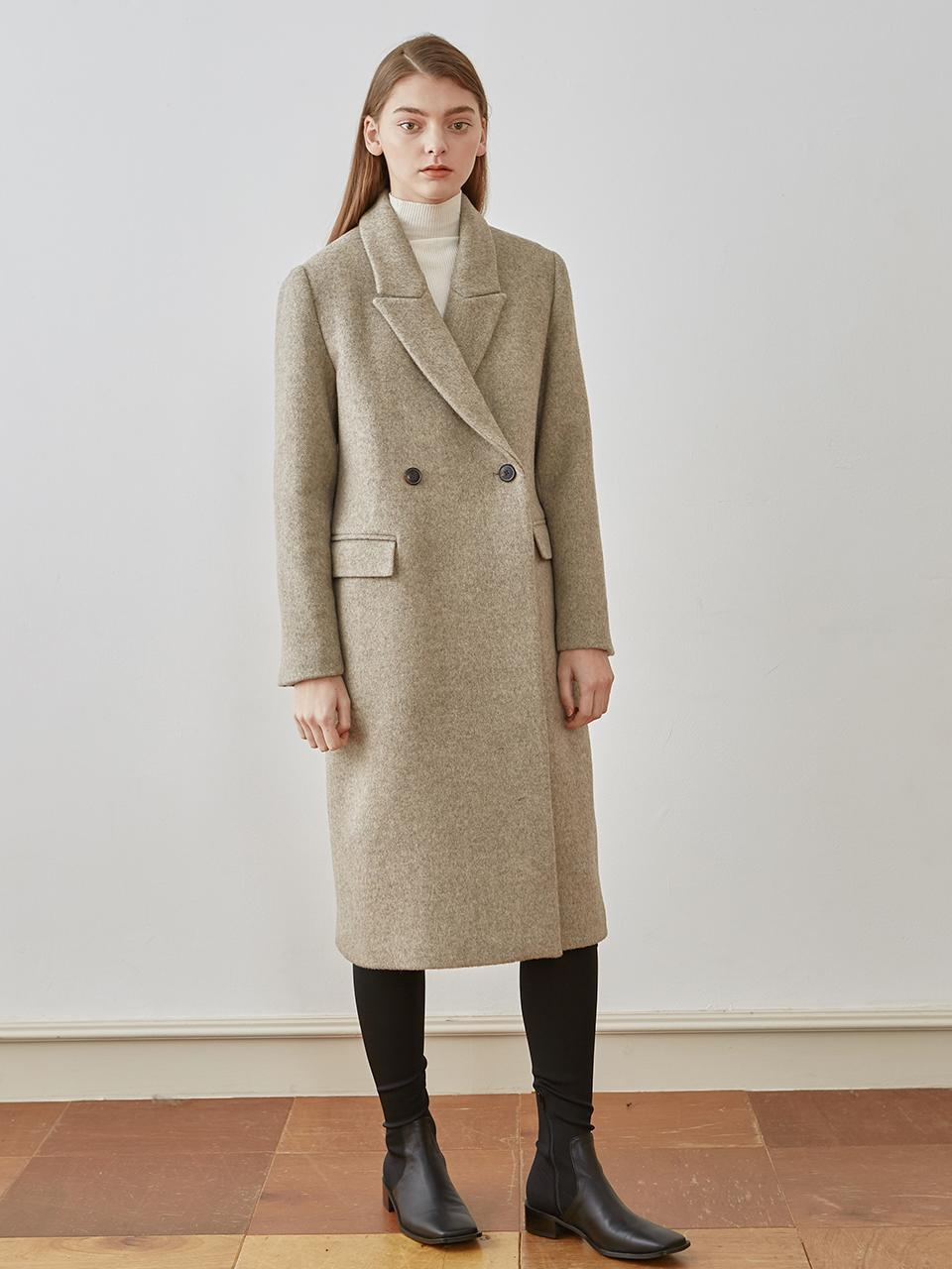 W Concept Wool Double Button Coat Oatmeal in Natural - Lyst