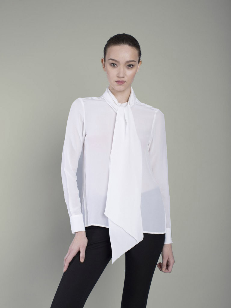 Perfect White Blouse Bow  Silk Blouses