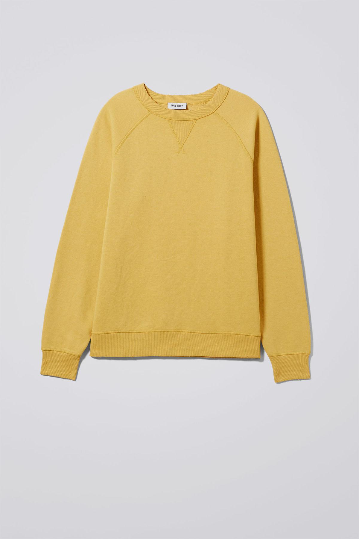 Weekday Cotton Jaxon Washed Sweatshirt in Yellow for Men