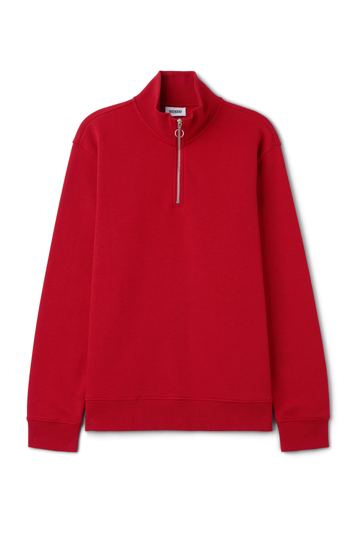 Weekday Cotton Martin Zip Sweatshirt in Red for Men