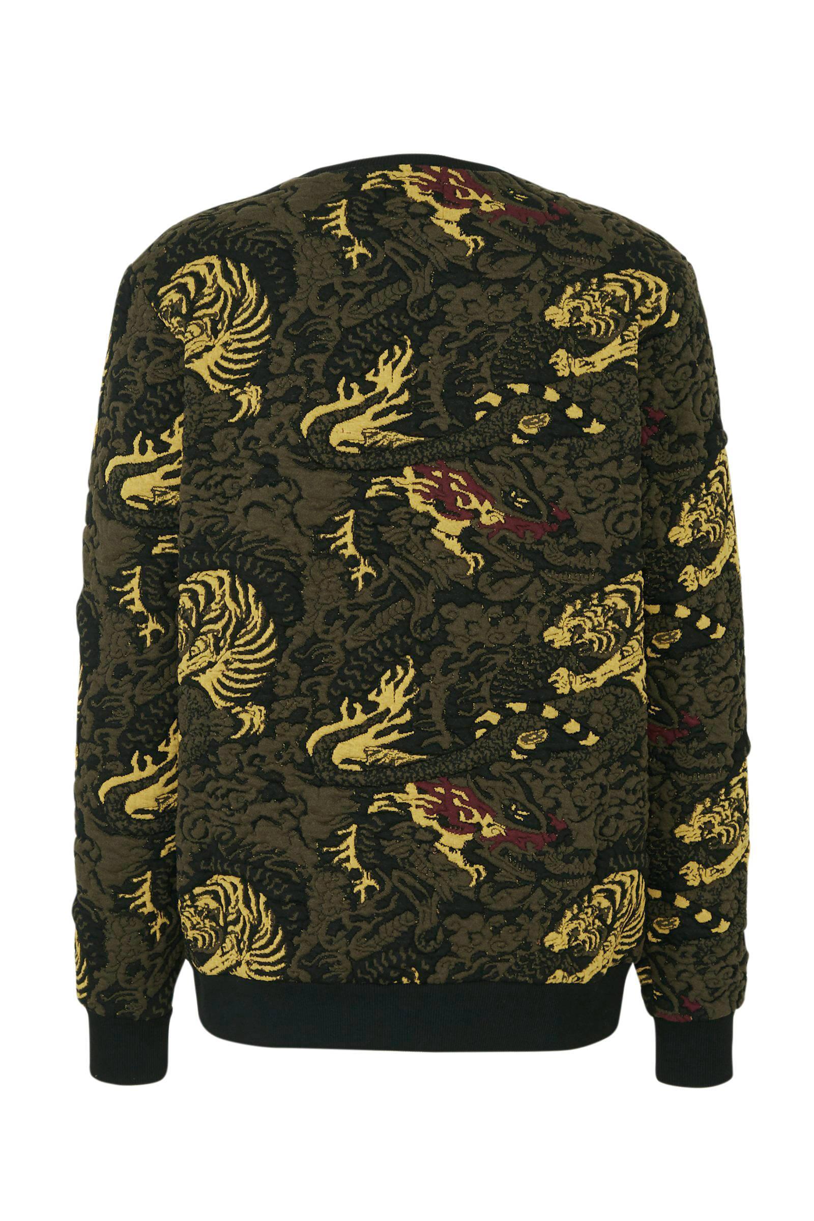 Redefined Rebel Sweater Met All Over Print Zwart/geel/groen in het Zwart voor heren