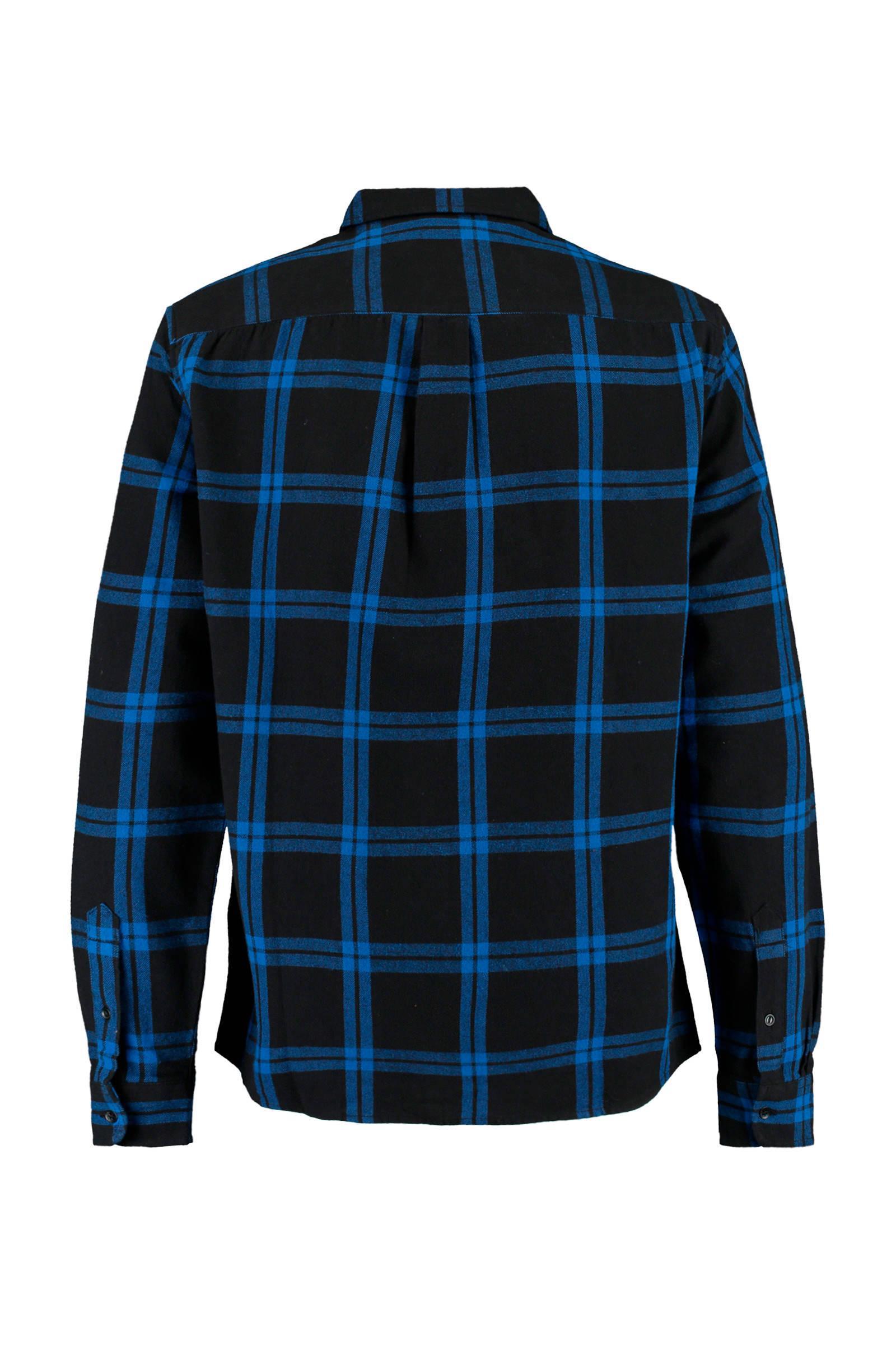 America Today Geruit Regular Fit Overhemd in het Zwart voor heren