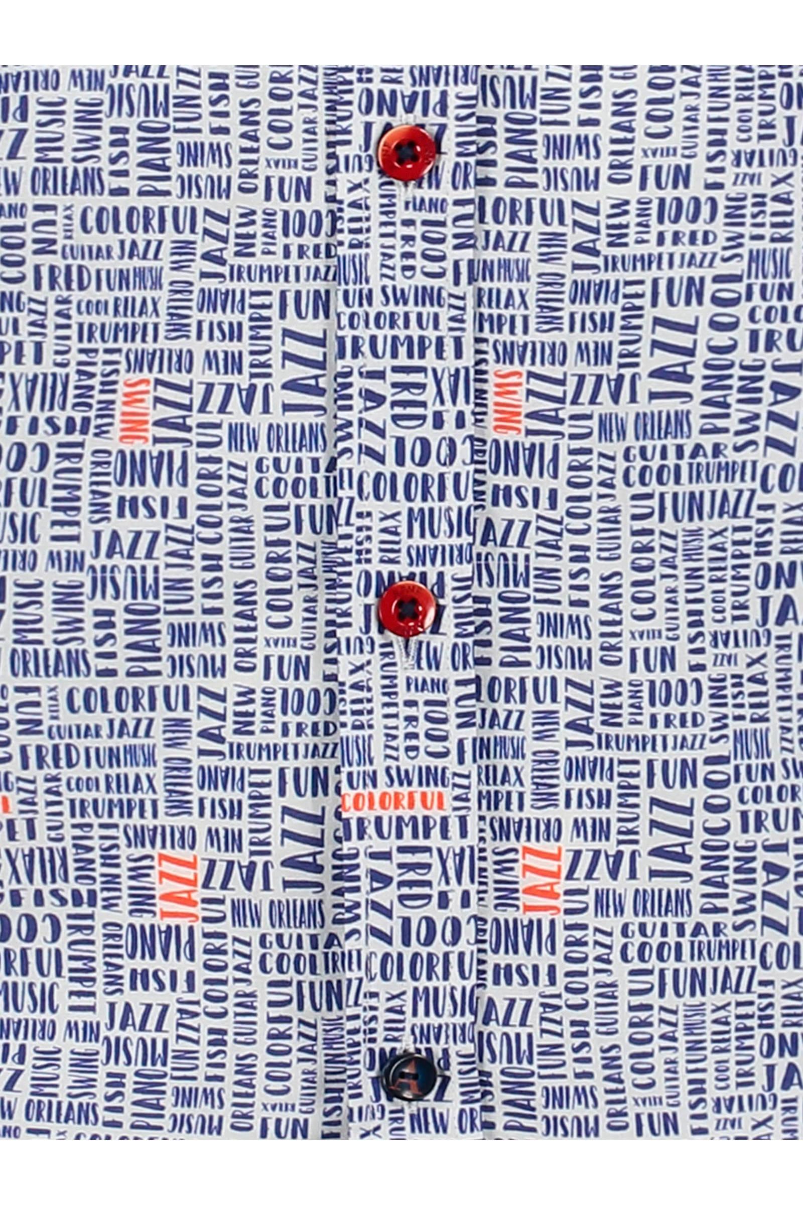 A fish named fred Regular Fit Overhemd Met All Over Print Wit/blauw/rood in het Wit voor heren