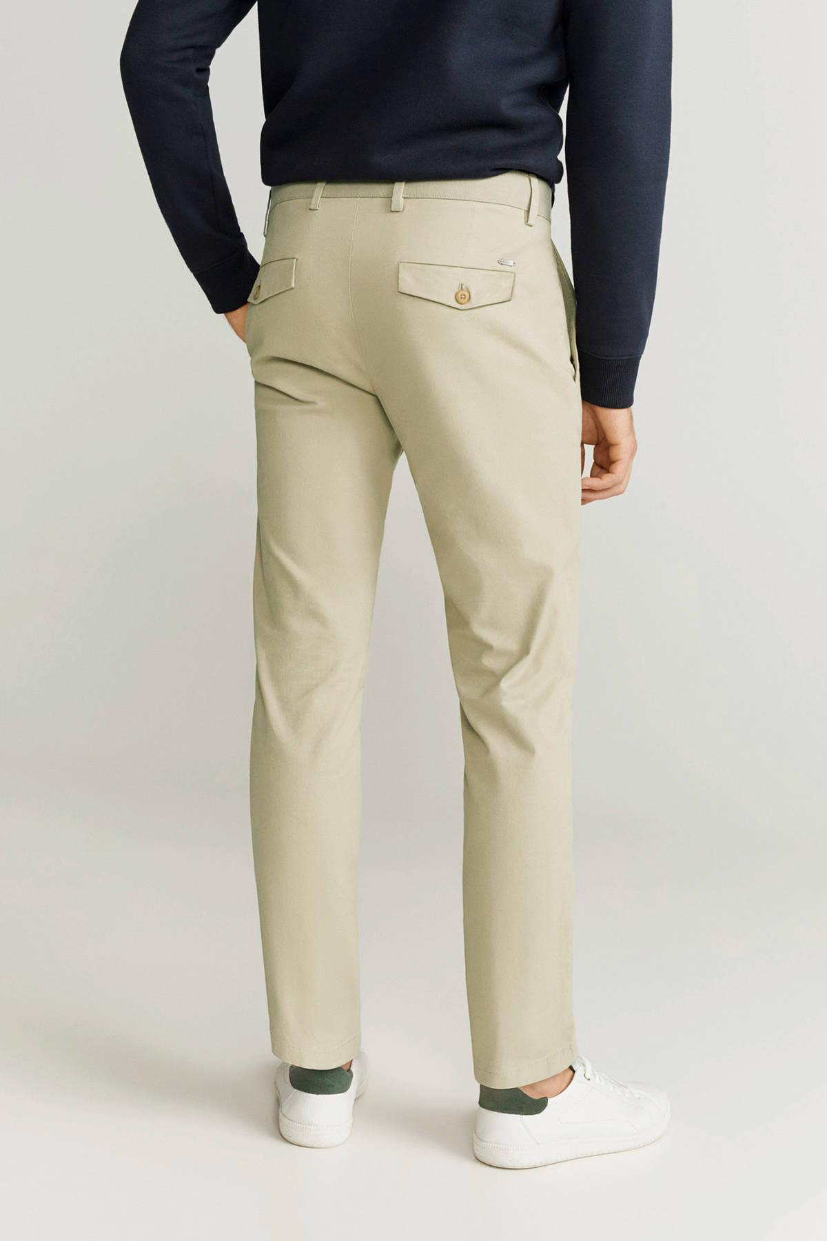 Mango Tapered Fit Pantalon in het Naturel voor heren