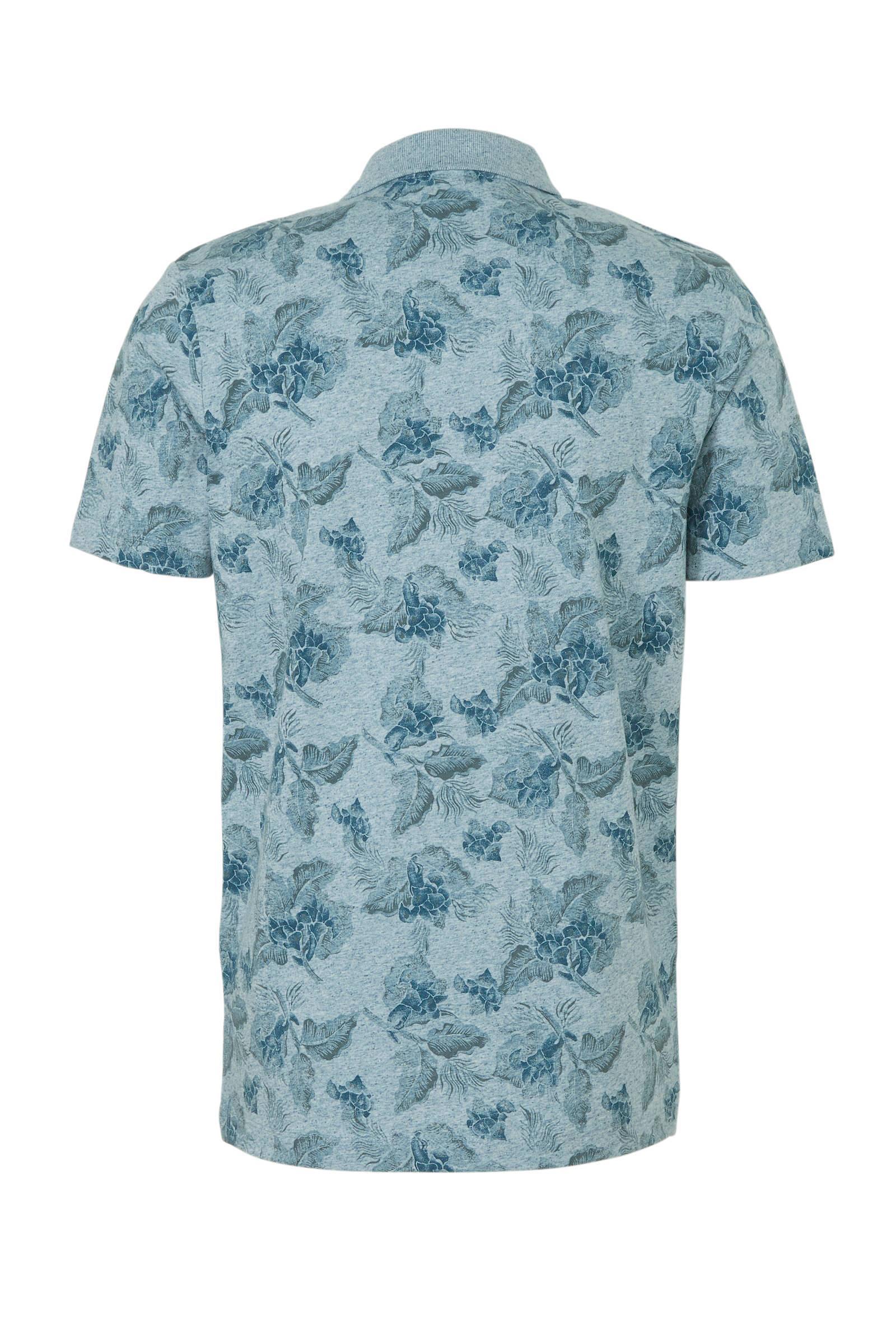Jack & Jones Premium Slim Fit Polo Met Bladprint Blauw in het Blauw voor heren