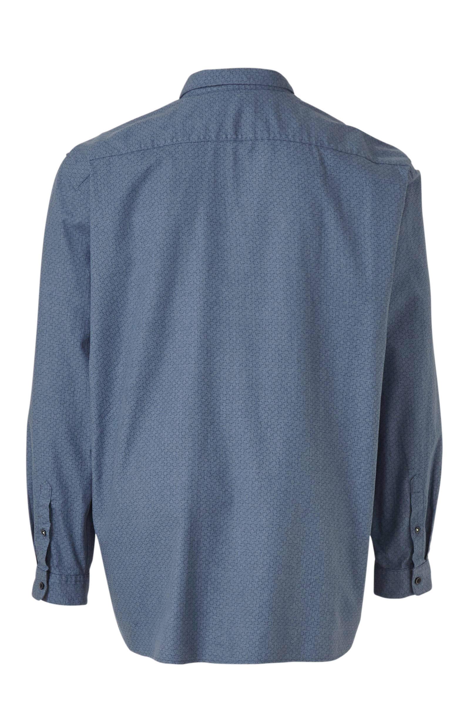 S.oliver Big Size Regular Fit Overhemd Met All Over Print Blauw in het Blauw voor heren