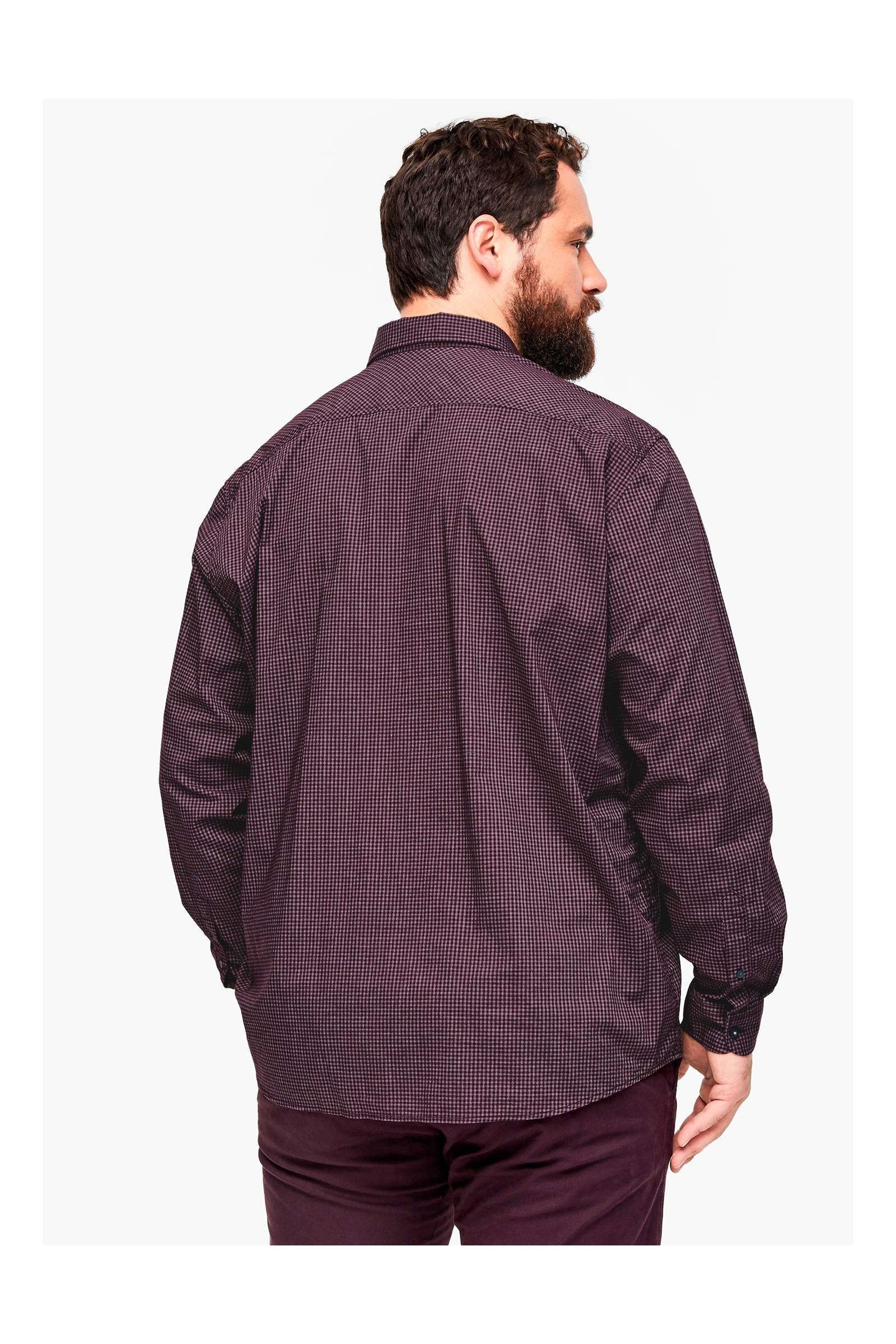 S.oliver Big Size Geruit Oversized Overhemd Paars Big Size in het Paars voor heren