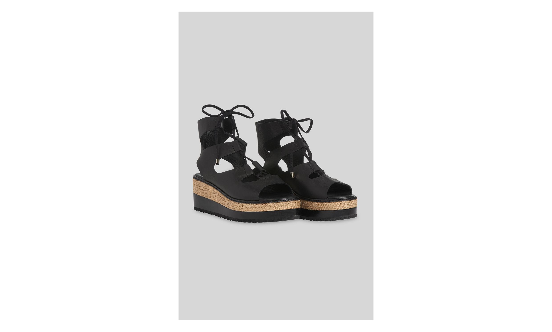 Whistles GHILLIE TIE FLATFORM - Platform sandals - black vDrmJ4j7no
