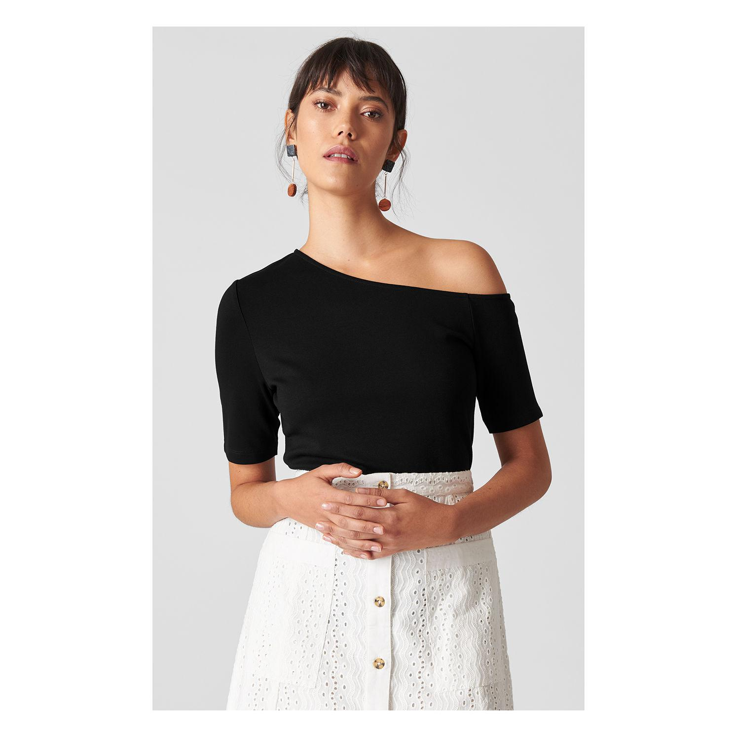 b91be652d6537 Whistles Asymmetric One Shoulder Top in Black - Lyst