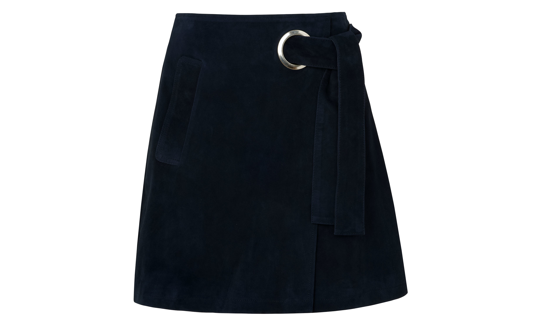 whistles lori eyelet suede mini skirt in blue lyst