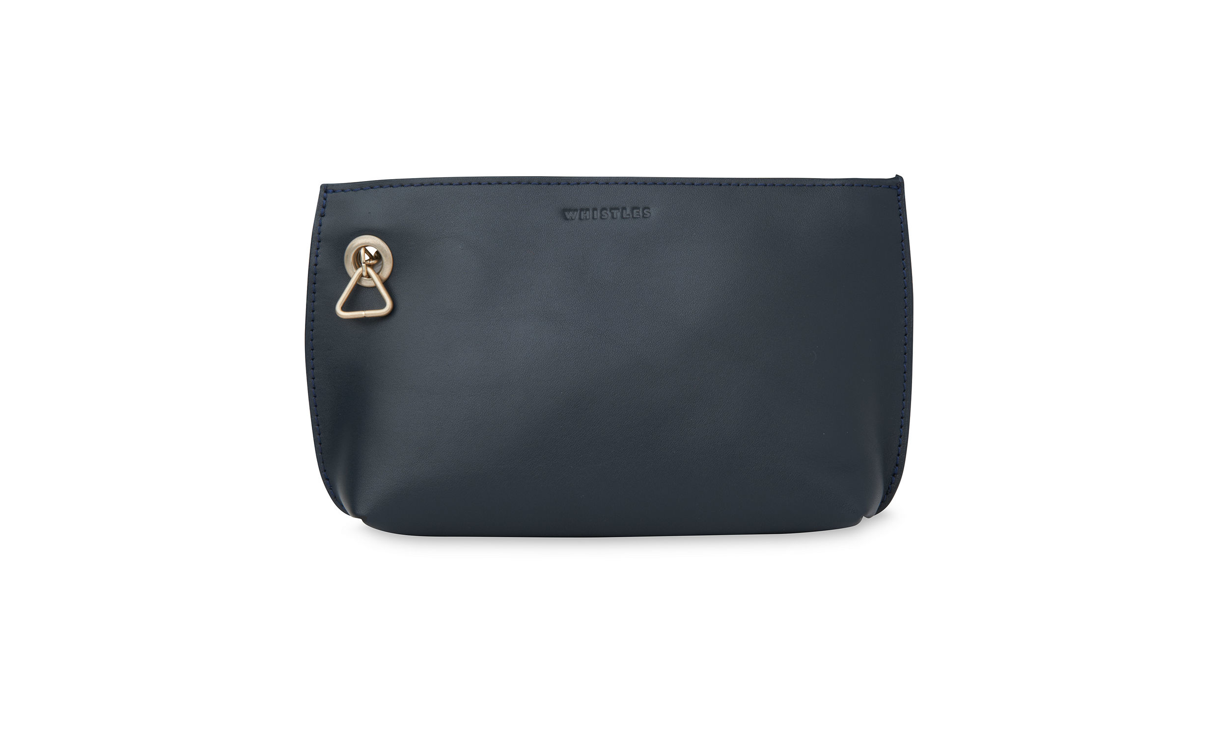 whistles triangle charm wristlet pouch in blue lyst