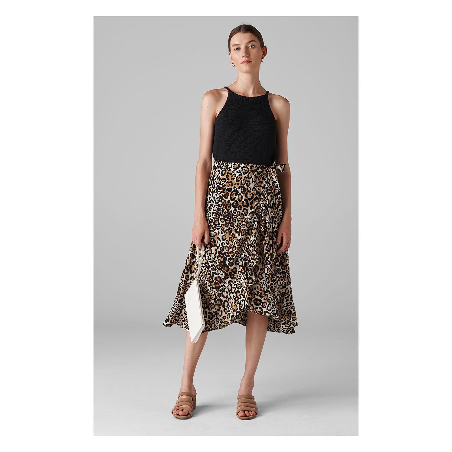 1e2480d625e9a Whistles - Multicolor Animal Print Frill Wrap Skirt - Lyst. View fullscreen
