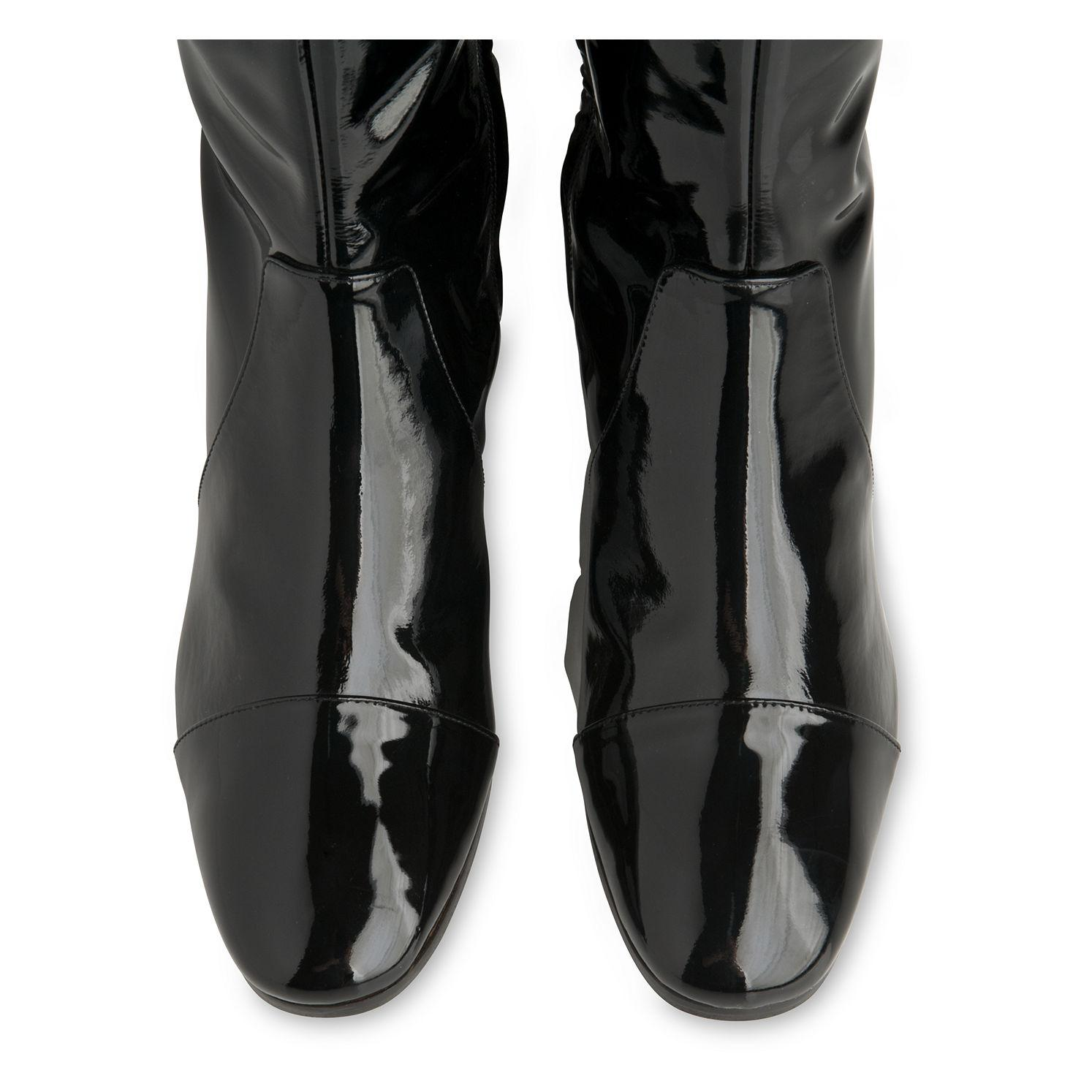 Whistles Hala Knee High Patent Boot in Black