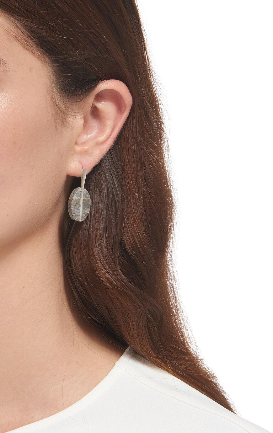 Whistles Made Oval Bone Charm Earring in Silver (Metallic)