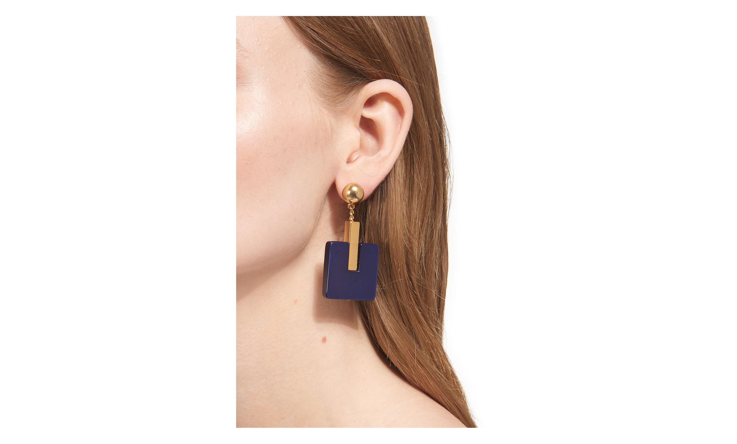 Whistles Synthetic Square Drop Resin Earring in Navy (Blue)