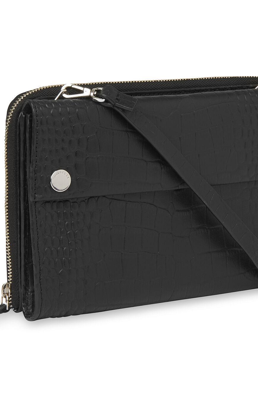 Whistles Leather Aubry Matte Croc Crossbody Bag in Black