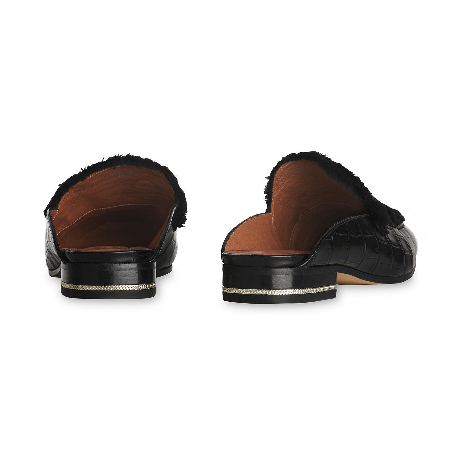 ac1f84347f6 Lyst - Whistles Shearling Lister Backless Shoe in Black