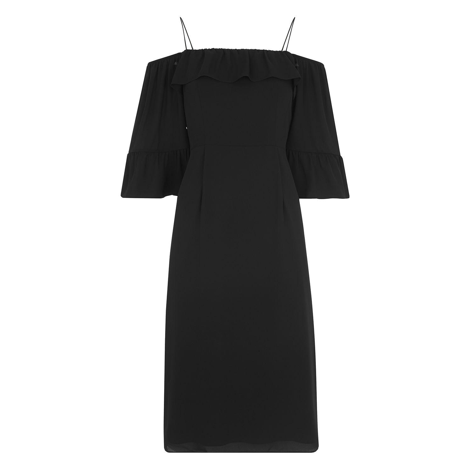 09e7b0c86845 Whistles - Black Off Shoulder Frill Dress - Lyst. View fullscreen