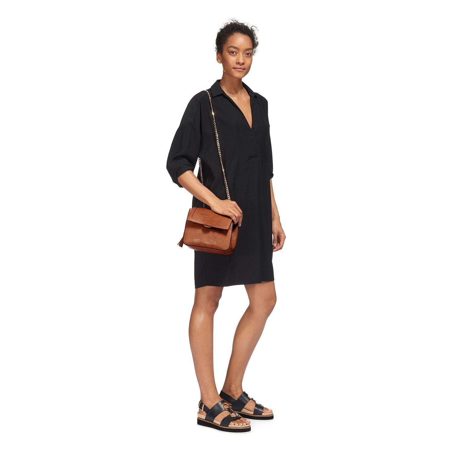 Whistles Leather Astrid Chain Crossbody Bag in Tan (Brown)