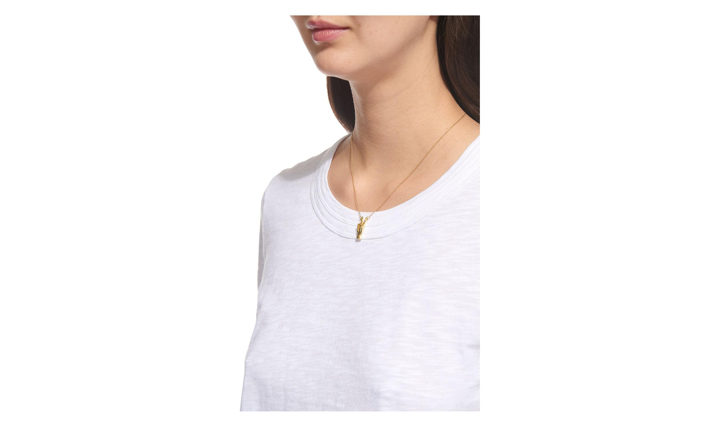 Whistles Peace Out Necklace in Gold (Metallic)