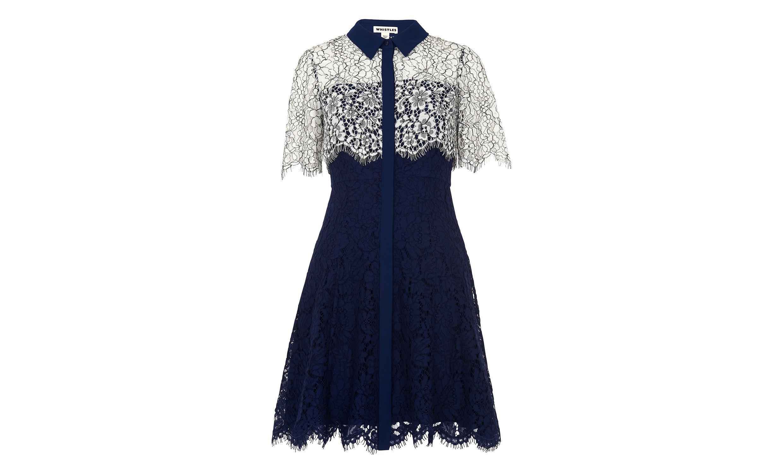 Whistles charlotte shirt dress in blue lyst for Custom dress shirts charlotte nc