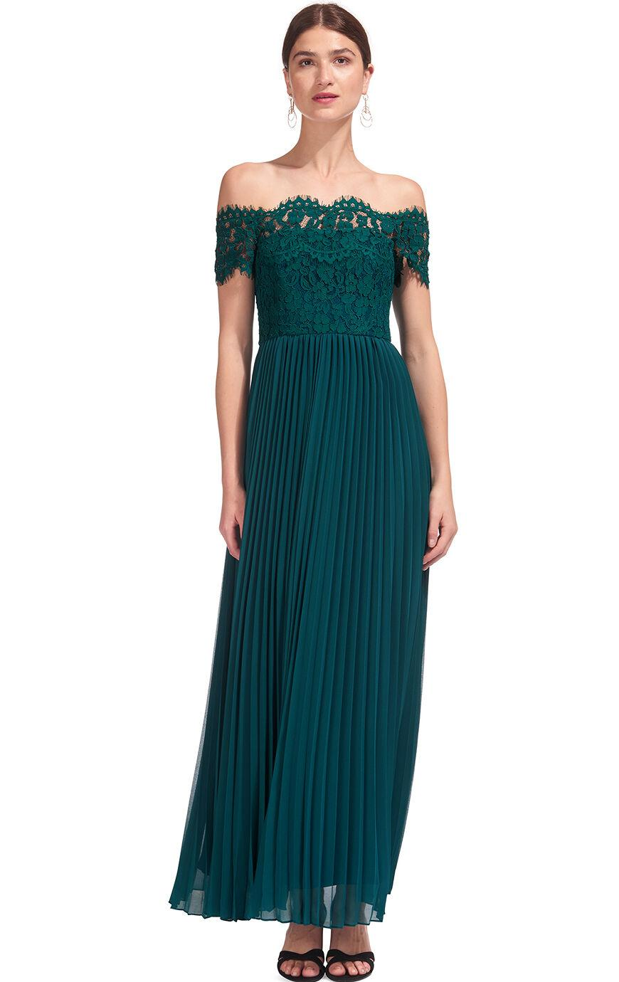 Whistles Bardot Lace Pleat Maxi Dress in Green