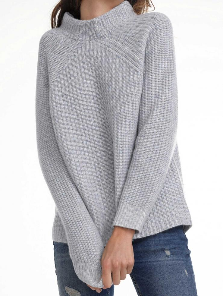 Lyst - White + Warren Cashmere Plaited Stitch Raglan in Gray