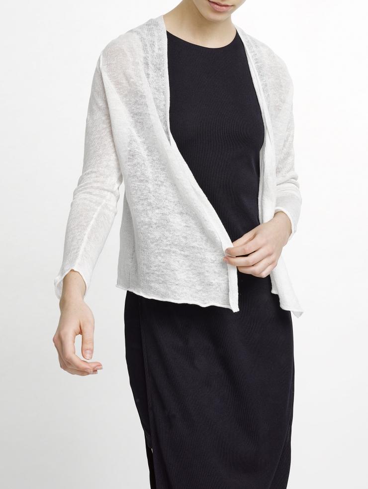 White + Warren Linen Crop Cardigan in White - Lyst